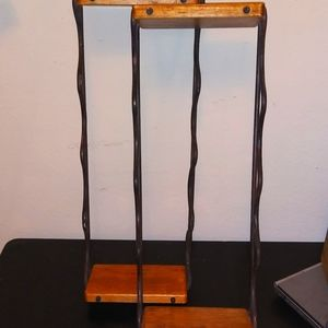 Vintage wood and wrought iron shelves